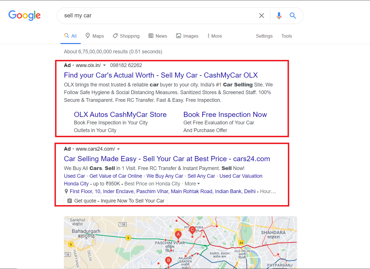 How Google search ads appear in SERP